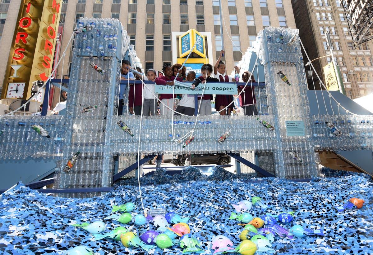 Plastic Bottle Brooklyn Bridge Comes To Times Square