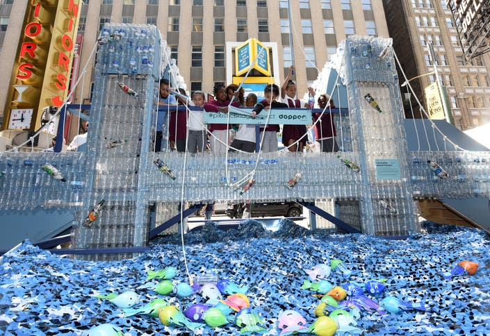 Plastic Bottle Brooklyn Bridge Comes To Times Square