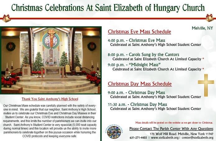 Dec 24 Celebrate Christmas Mass At Saint Elizabeth Of Hungary Church Half Hollow Hills Ny Patch