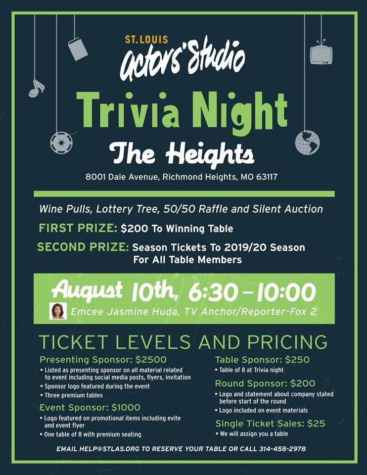 Aug 10 | St  Louis Actors' Studio Trivia Night | Clayton