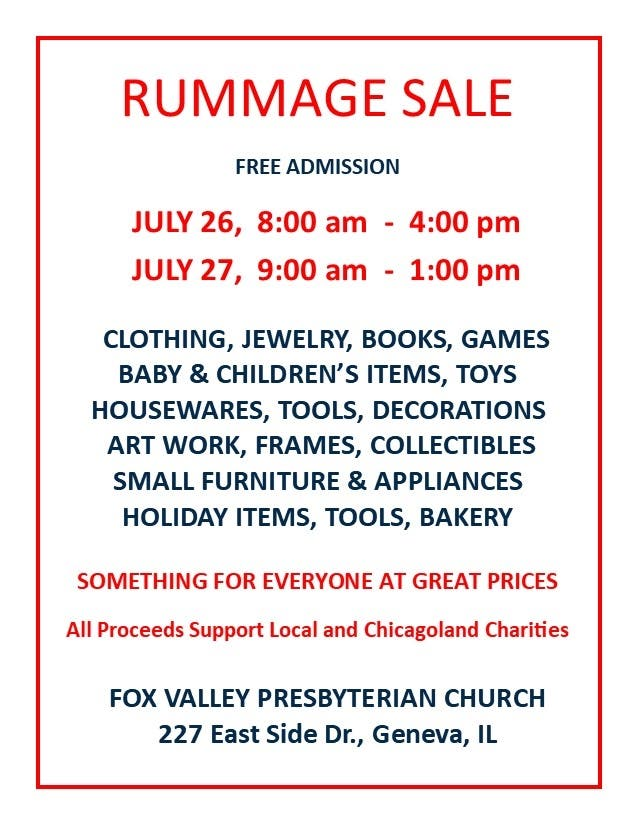 Jul 26 | Fox Valley Presbyterian Church Rummage Sale | Geneva, IL Patch