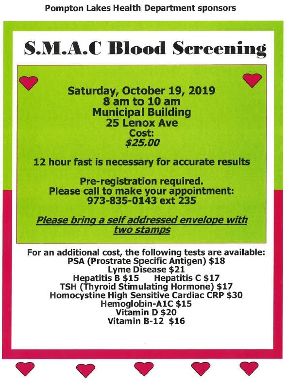 Oct 19 | S M A C Blood Screening Only $25 | Oakland, NJ Patch