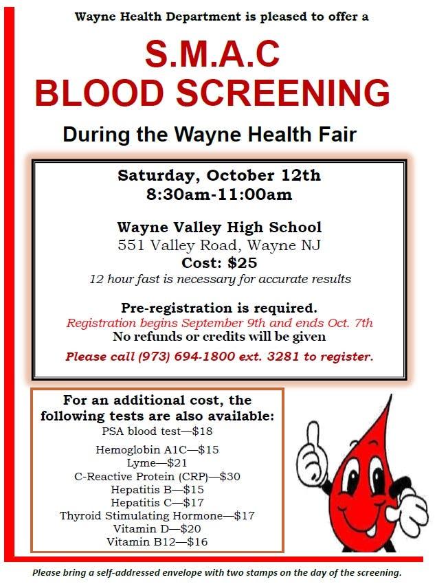 Oct 12 | S M A C Blood Screening Only $25 | Wayne, NJ Patch