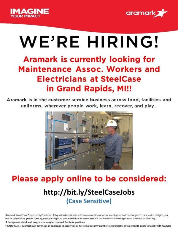 May 23   Aramark is Hiring at SteelCase in Grand Rapids, MI