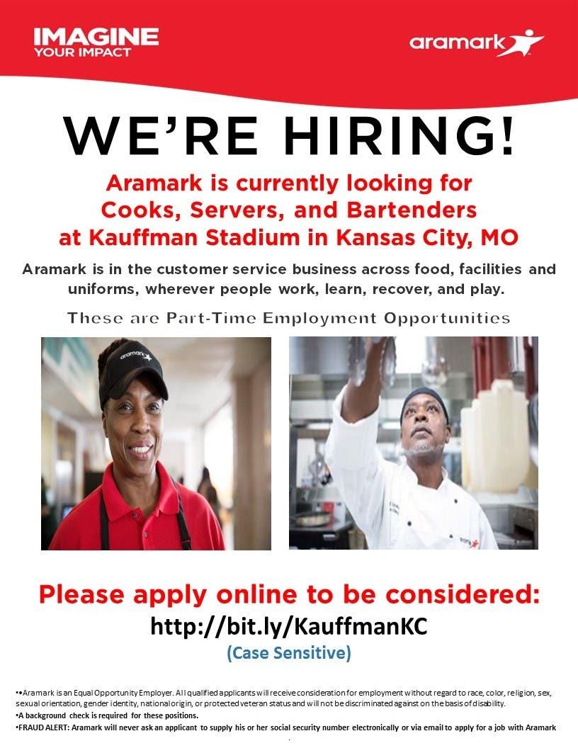 Aramark is Hiring at Kauffman Stadium in Kansas City, MO!! - Kansas