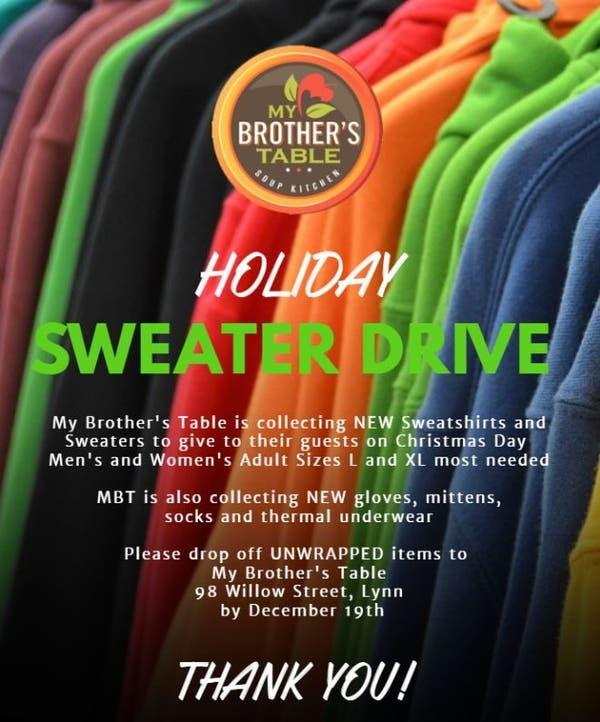 Dec 19 Holiday Sweater Drive For My Brother S Table