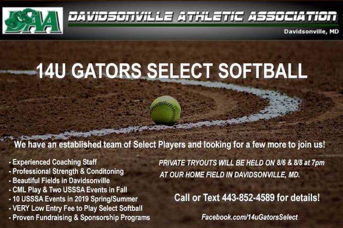 Davidsonville Gators 14U Select Softball Team Tryouts - Edgewater