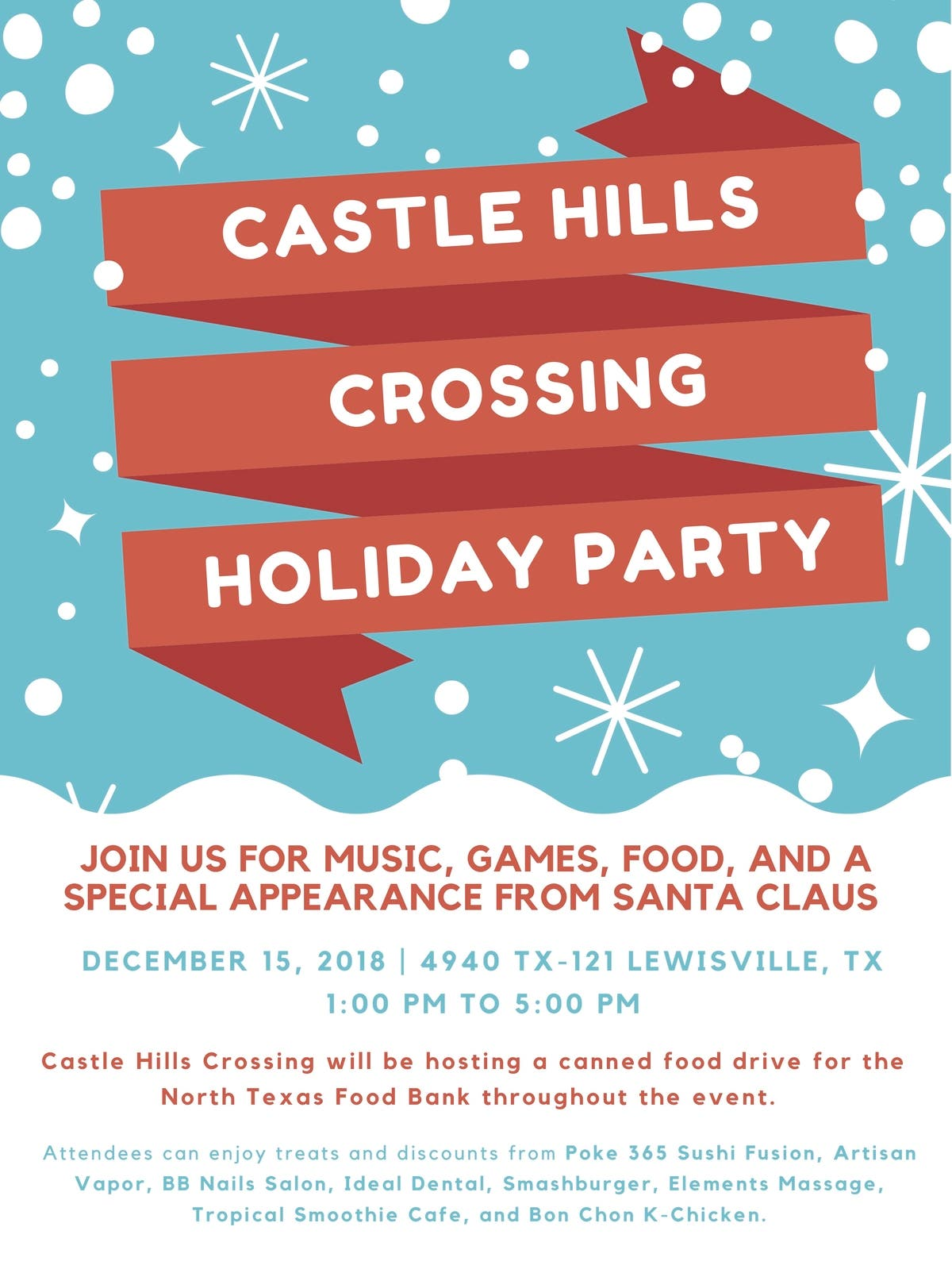 Castle Hills Crossing To Host Holiday Celebration Saturday
