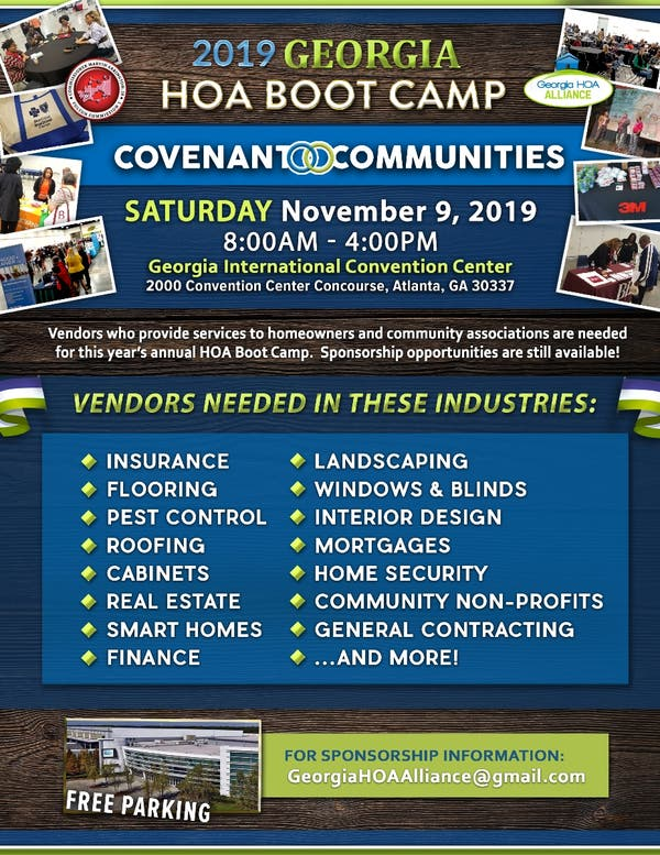 Nov 9 Vendors Needed For 2019 Georgia Hoa Boot Camp