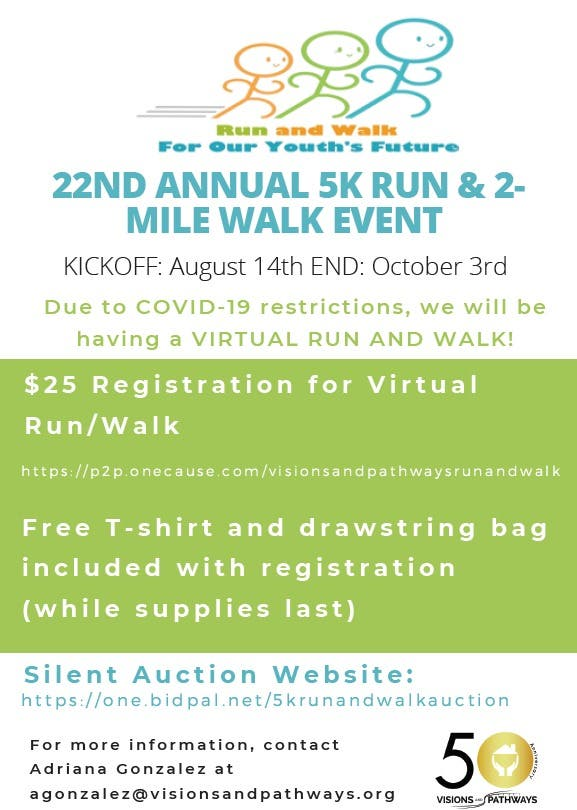 NOW THRU OCT 3rd 5K RUN/2M WALK TO SUPPORT YOUTHS FUTURE