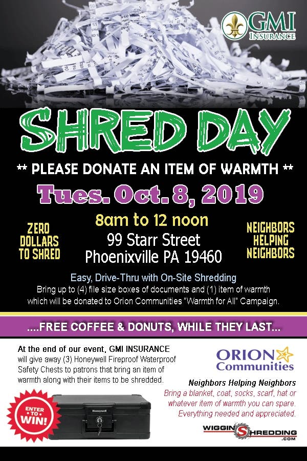 Oct 8 | FREE SHRED EVENT - GMI Cares Day! | Phoenixville, PA Patch