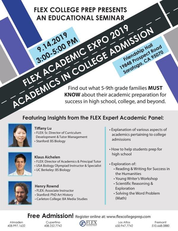 Sep 14   FLEX Academic Expo 2019: Academics in College Admission