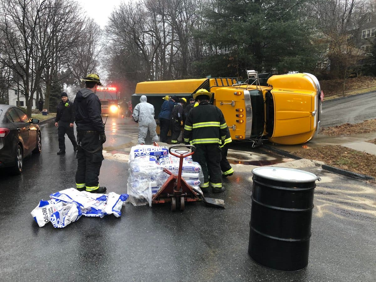 Car Accident Tips Oil Truck On Its Side In Worcester   Worcester, MA