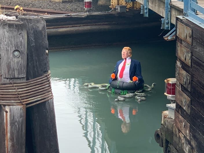 Angry Trump Statue Found Floating On Gowanus Canal