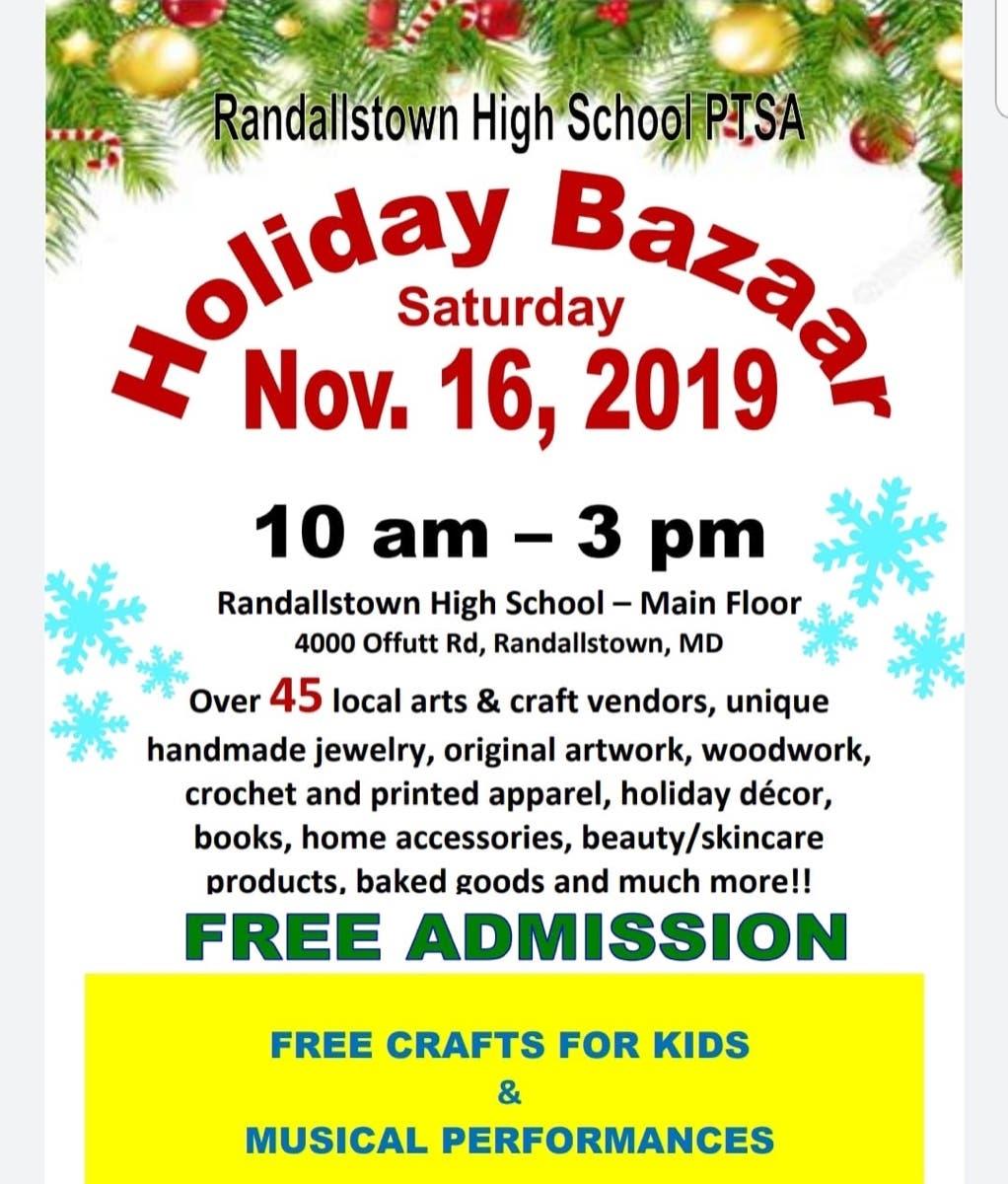 Nov 16 | Randallstown High School PTSA Holiday Bazaar ...