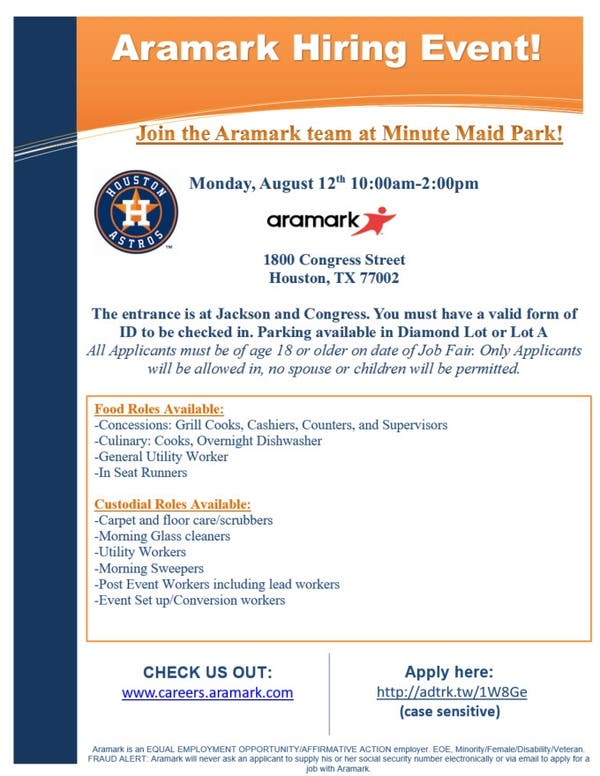 Aug 12 | Hiring Event at Minute Maid Park! | Houston, TX Patch