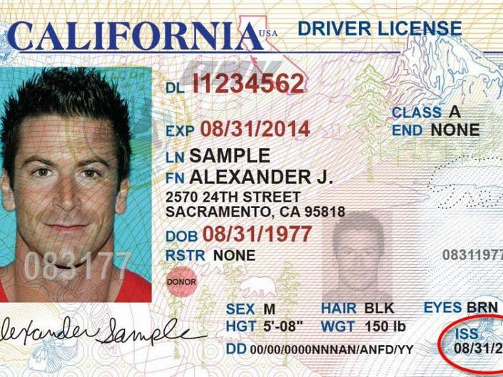 where is the document number on a california drivers license