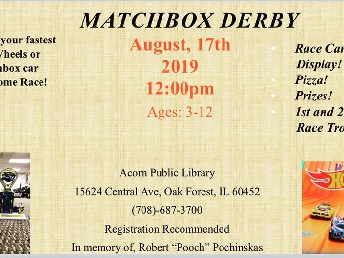 Matchbox Derby Held At Acorn Library August 17