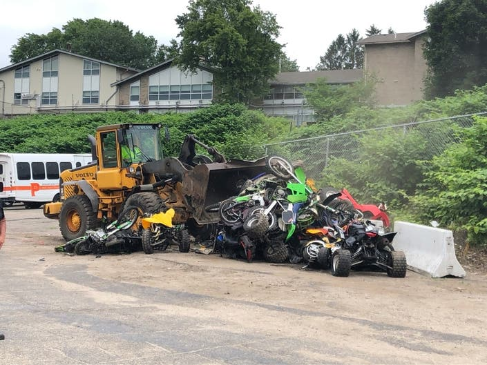 Providence Officials Destroy 27 Confiscated ATVs, Dirt Bikes