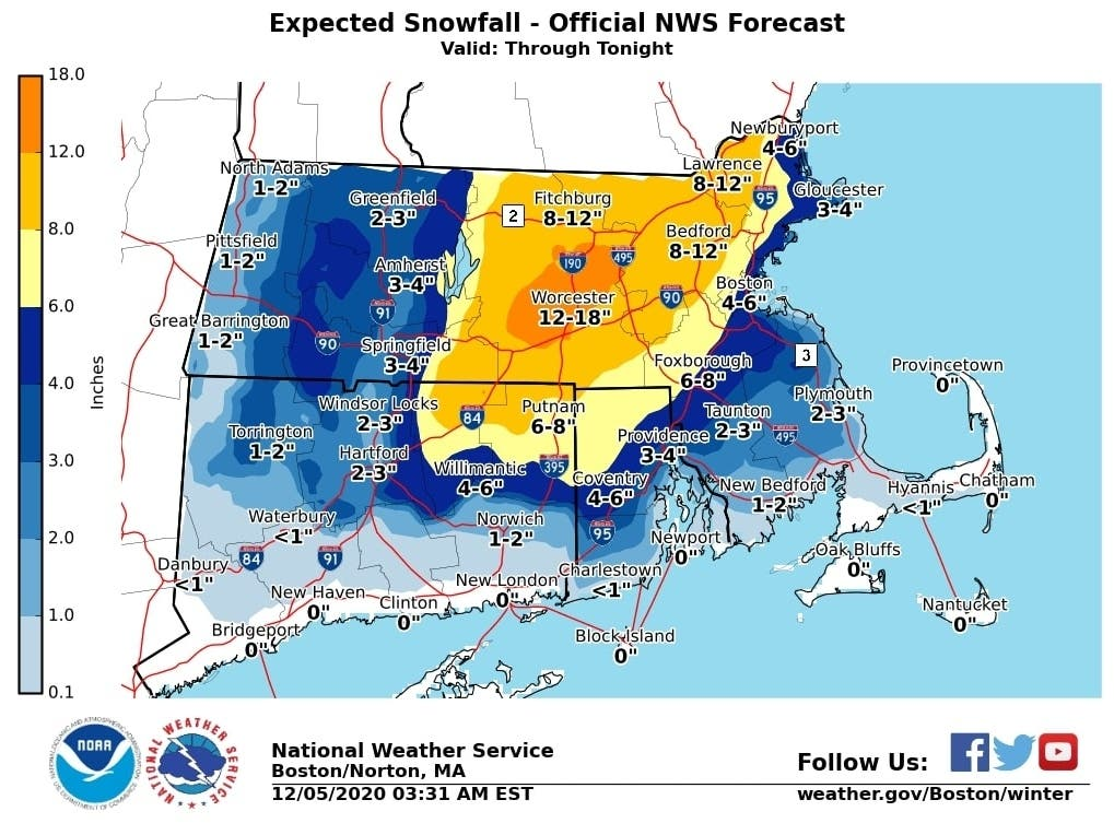 Coastal Storm Could Bring 18 Inches Of Snow To Parts Of MA