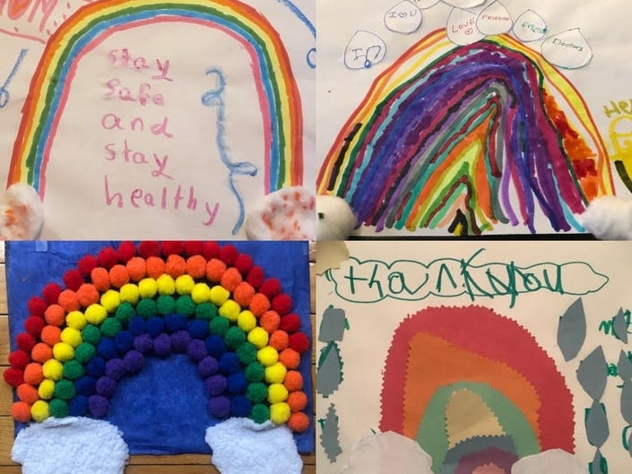 A kindergarten class in Forest Hills brought some brightness to Elmhurst Hospital amid the siege of the new coronavirus.