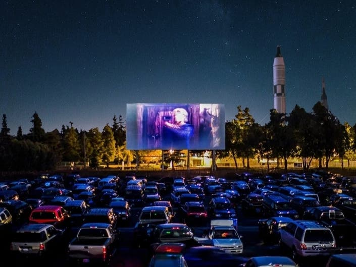 A rendering of the upcoming drive-in movie festival on the grounds of the New York Hall of Science.