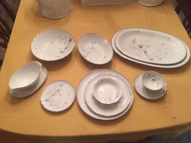 Vintage Baronet China Silver Arbor 6 inch bread and butter plates