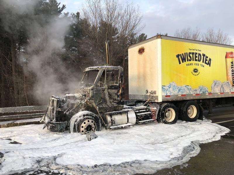 Twisted Tea Truck Fire Causes Interstate 93 Shutdown