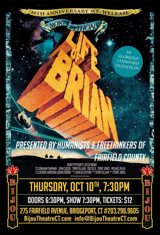 Oct 10 Life Of Brian Showing October 10 Westport Ct Patch