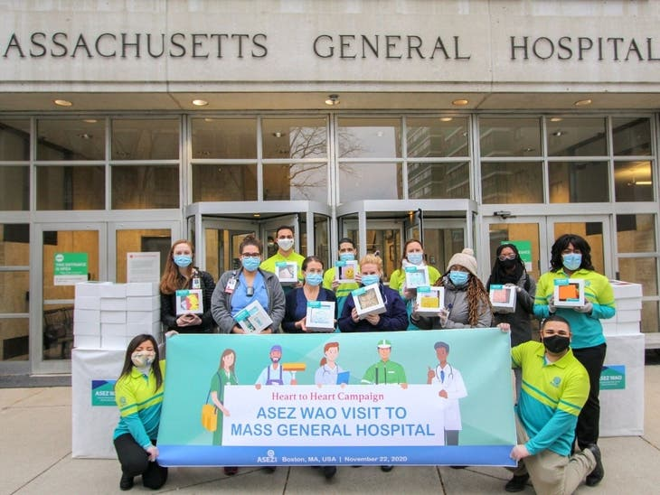 ASEZ WAO Volunteers Deliver 60 Care Packages To Mass General HCW