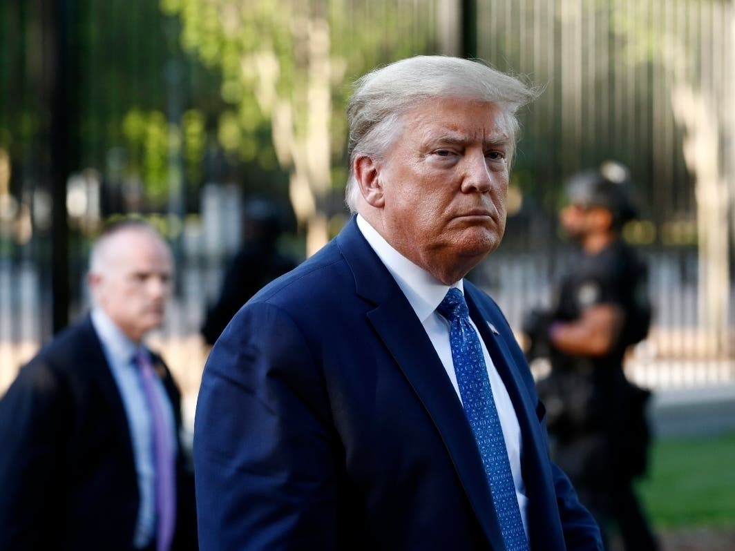 President Donald Trump returns to the White House after visiting outside St. John's Church.