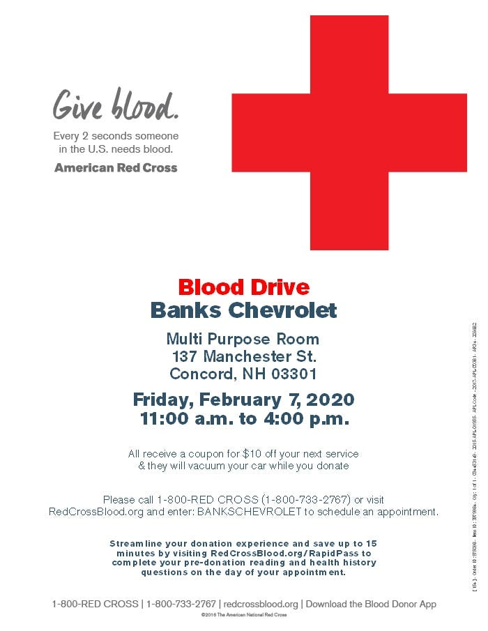 Feb 7 Donate Blood At Banks Chevrolet For 10 Off Your Next Service Concord Nh Patch
