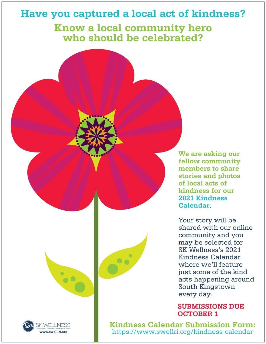 Kindness Calendar 2021 SK Wellness Seeking Stories of Kindness   Narragansett, RI Patch