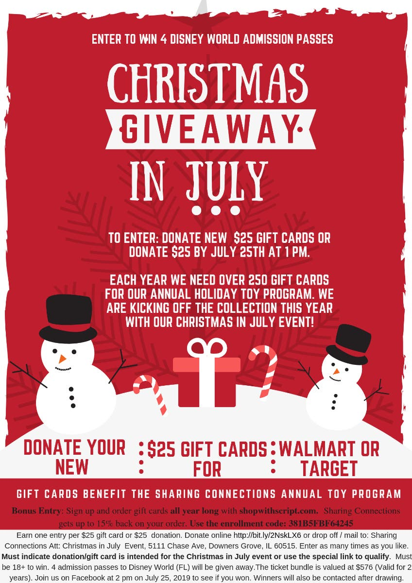 Jul 25 | Christmas in July - Disney tickets giveaway