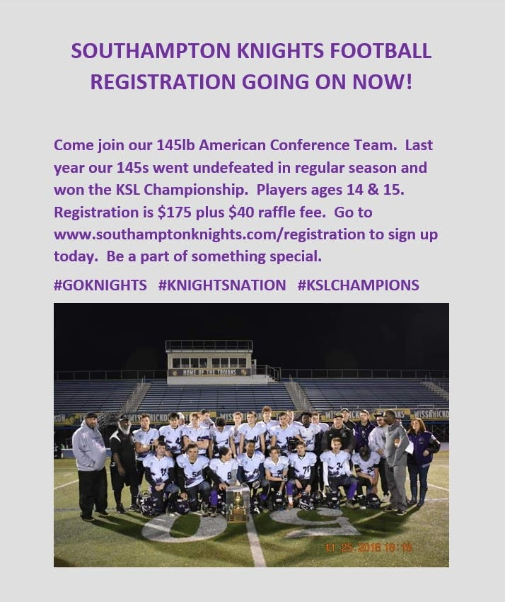 Aug 24 Southampton Knights Football Registration Going On Now Upper Southampton Pa Patch