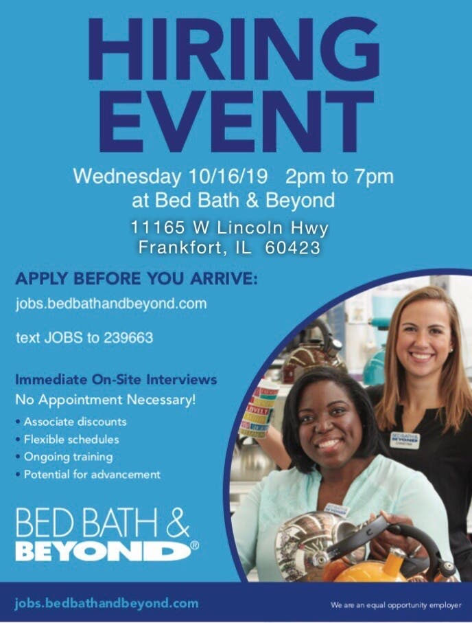 Frankfort Bed Bath Beyond Hiring Event 10 16 19 Frankfort Il Patch