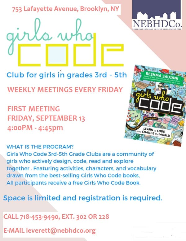 Sep 13 | Girls who Code Club for girls in grades 3rd-5th