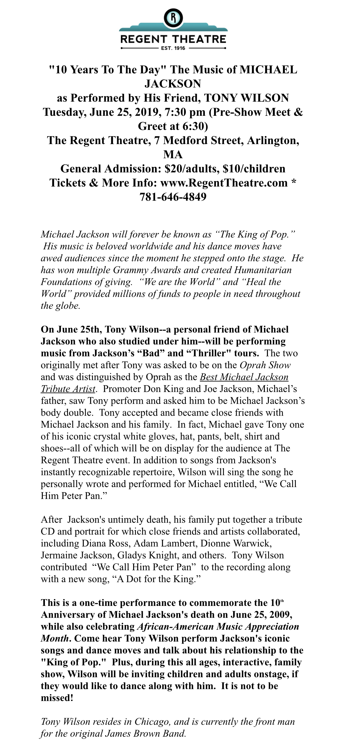 Jun 17 | Michael Jackson 10 Years To The Day Concert
