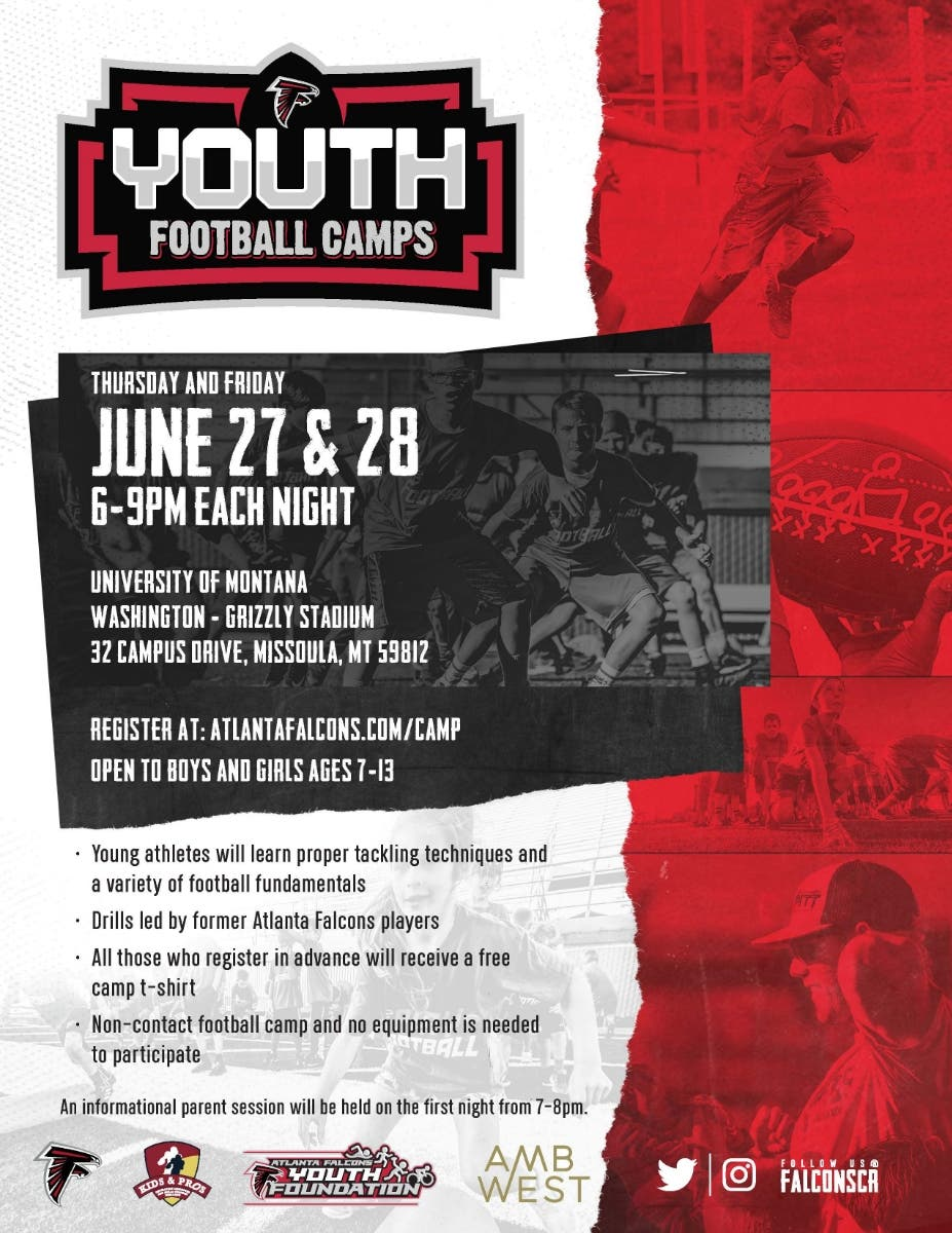 Jun 27 | Atlanta Falcons Youth Football Camps | Missoula, MT