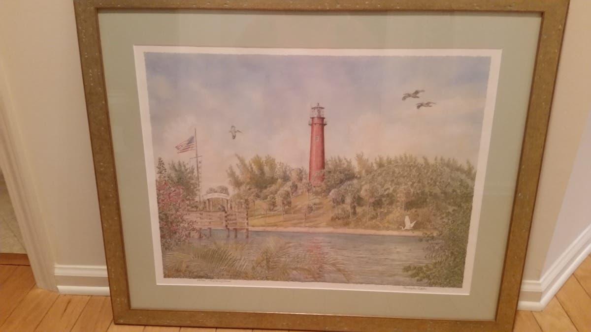 """Christopher Griffiths """"Jupiter Lighthouse"""" Signed Print"""