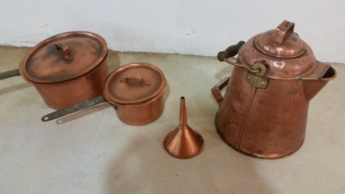 Vintage Copper Pots and Large Kettle