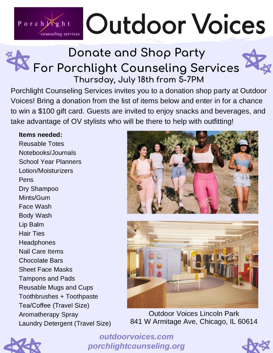 Jul 18 | Donate + Shop Party at Outdoor Voices! | Lincoln