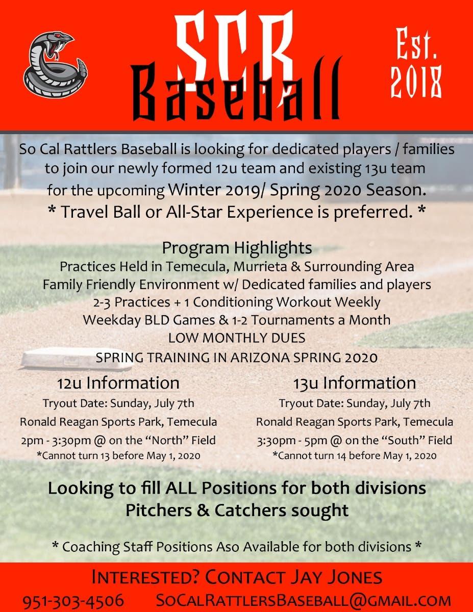 Jul 7 | ** 12u/13u Travel Baseball Tryouts ** | Murrieta, CA