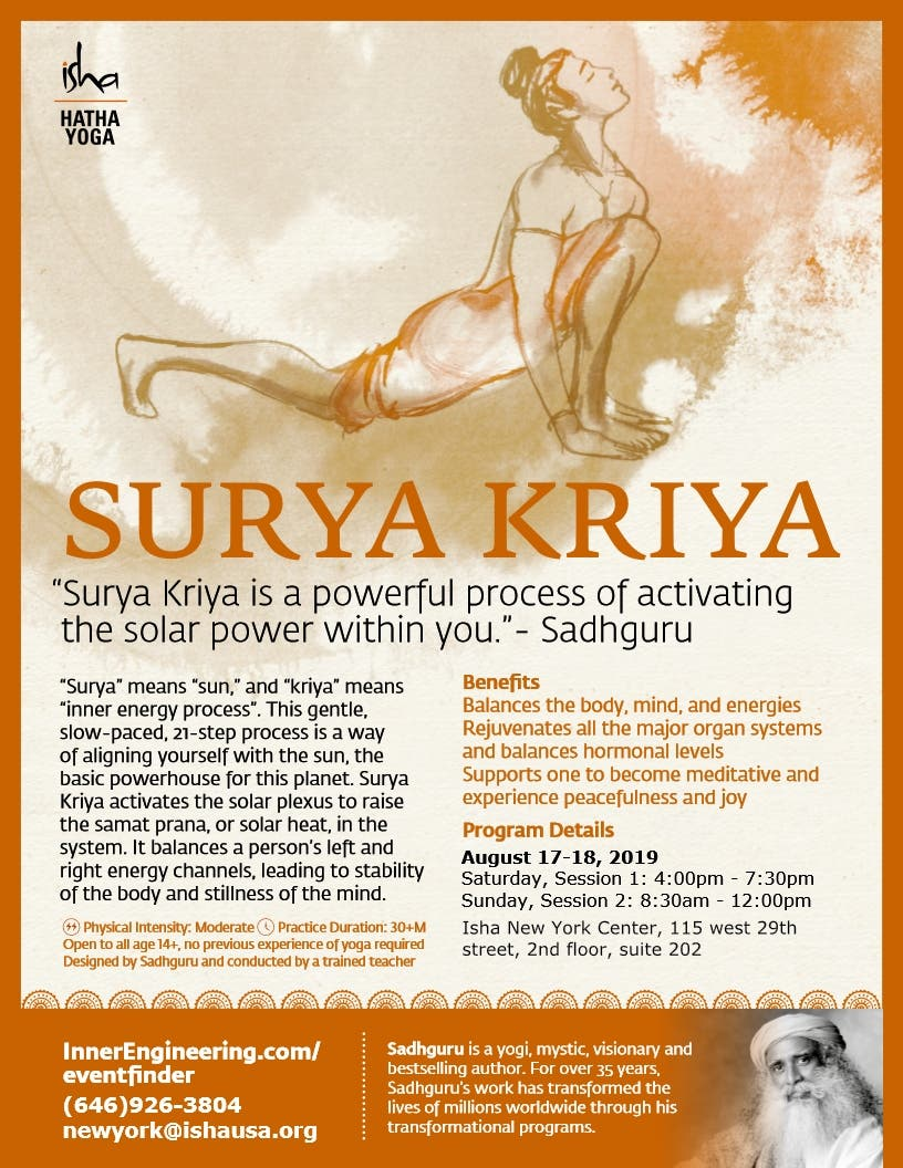 Aug 17 Surya Kriya Fire Up The Sun Within Isha Hatha Yoga Midtown Ny Patch