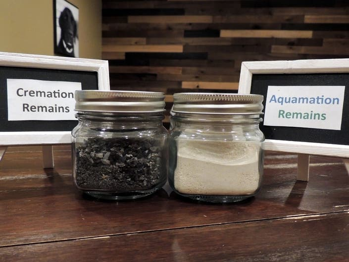 A comparison of flame-cremation remains versus water-based aquamation remains.