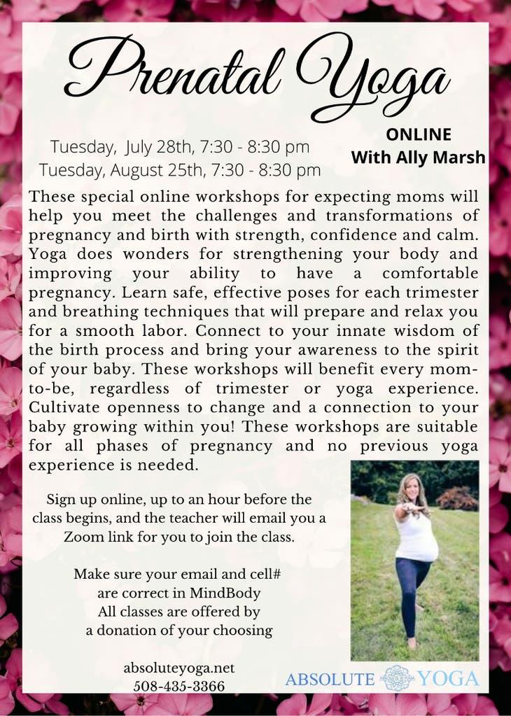 Prenatal Yoga Workshop online with Ally