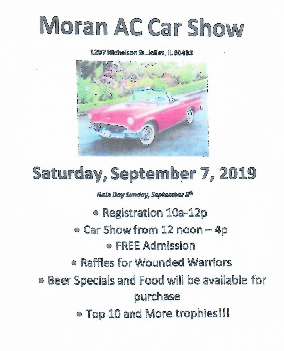 Sep 7 | Moran Athletic Club Fall Car Show | Joliet, IL Patch