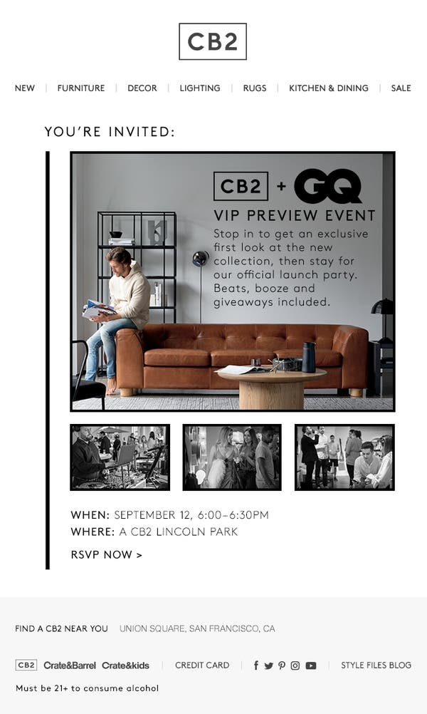 Sep 12 | CB2 x GQ VIP LAUNCH PARTY | Chicago, IL Patch