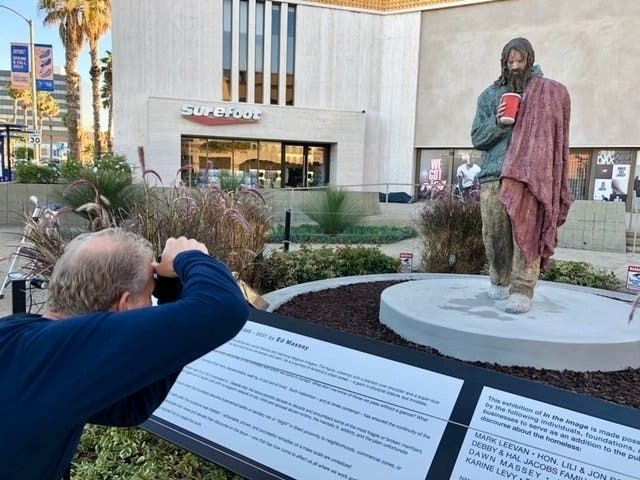 Homeless Man Statue Appears In Front Of Former Santa Monica Bank