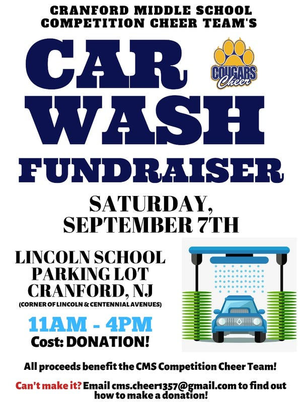 Sep 7 | Cranford Middle School Competition Cheer Car Wash